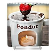 Strawberry Dipped In Chocolate Fondue Shower Curtain by Elena Elisseeva