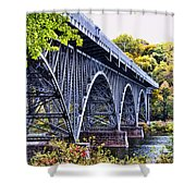 Strawberry Mansion Bridge Fall View Shower Curtain