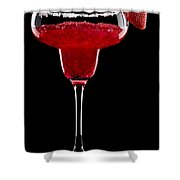 Strawberry Margarita In Front Of A Black Background Shower Curtain