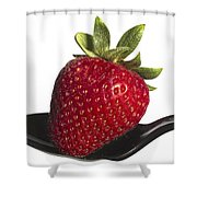 Strawberry On A Black Spoon Against White No.0003 Shower Curtain