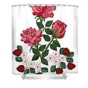 Strawberry Wine And Roses Shower Curtain