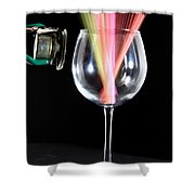 Straws In A Glass At Resonance Shower Curtain