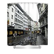 Street In Lucerne With Cycles And Rain Shower Curtain