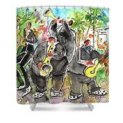 Street Musicians In Cyprus Shower Curtain