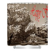 Street Scene Happy Holidays Shower Curtain