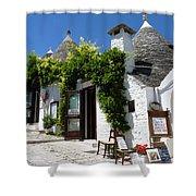 Street Scene In Alberobello Shower Curtain