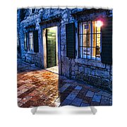 Street Scene In Ancient Kotor Montenegro Shower Curtain by David Smith