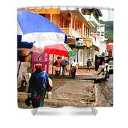 Street Scene In Rosea Dominica Filtered Shower Curtain
