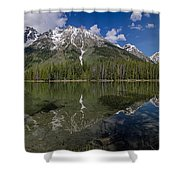 String Lake Panorama Shower Curtain