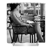 Stripped Dress Lady Shower Curtain