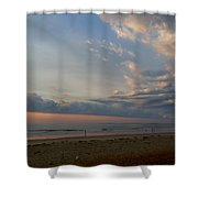Strolling At Sunrise On The Shore Of Maine Shower Curtain