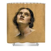 Study Of A Head Shower Curtain by Evelyn De Morgan