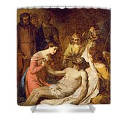 Study Of The Lamentation On The Dead Christ Shower Curtain