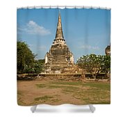 Stupa Chedi Of A Wat In Thailand Shower Curtain