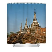 Stupas Chedis Of A Wat In Ayutthaya Shower Curtain