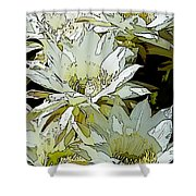 Stylized Cactus Flowers Shower Curtain