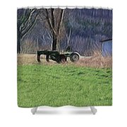 Subsoiler On The Farm  Shower Curtain