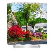 Suburban Azalea Garden Shower Curtain