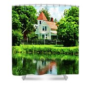 Suburban House With Reflection Shower Curtain