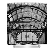 Subway Glass Station In Black And White Shower Curtain