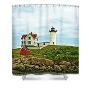 Summer Afternoon At Nubble Light Shower Curtain