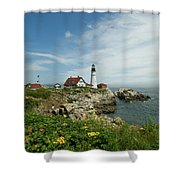 Summer At Portland Head Light Shower Curtain