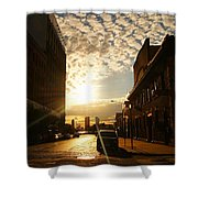 Summer Sunset Over A Cobblestone Street - New York City Shower Curtain