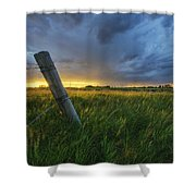 Summer Thunderstorm And Fencepost Shower Curtain