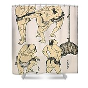 Sumo Wrestlers, 1817 Shower Curtain