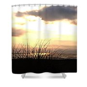 Sun Behind The Clouds On The Beach Shower Curtain