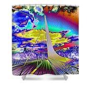 Sun Dial Bridge Redding Ca   Shower Curtain