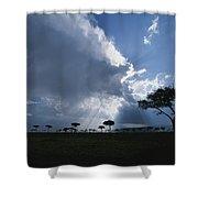 Sun Rays Break Through Clouds Shower Curtain