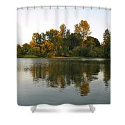 Sun Setting On The Lake Shower Curtain