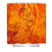Sunburst Tiger On Fire Shower Curtain
