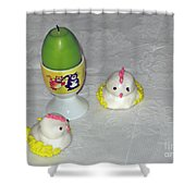 Easter Chicks And Kitties Shower Curtain
