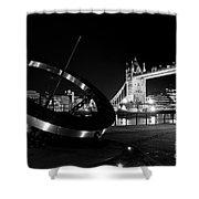 Sundial And Tower Bridge At Night Shower Curtain
