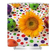 Sunflower And Colorful Balls Shower Curtain