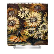 Sunflowers 12 Square Painting Shower Curtain