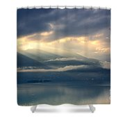 Sunlight And Clouds Over An Alpine Lake Shower Curtain