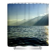 Sunlight Over A Lake With Mountain Shower Curtain