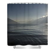 Sunlight Over An Alpine Lake Shower Curtain