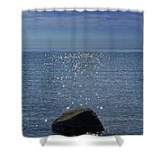 Sunlight Sparkling On The Water At Sturgeon Point Shower Curtain