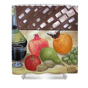 Sunlit Still Life With Butterfly Shower Curtain