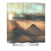 Sunrays Shine Down On Three Pyramids Shower Curtain