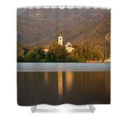 Sunrise Across Lake Bled Shower Curtain