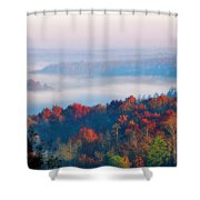 Sunrise And Fog In The Cumberland River Valley Shower Curtain