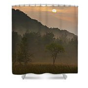 Sunrise And The Early Morning Fog Iron Shower Curtain
