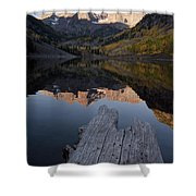 Sunrise At The Maroon Bells Reflected Shower Curtain