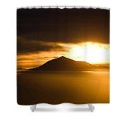 sunrise behind Mount Teide Shower Curtain