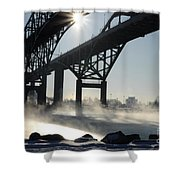 Sunrise Blue Water Bridges Fog Shower Curtain